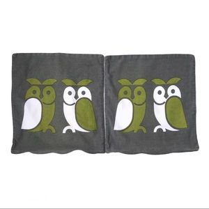 Vintage 70s Owl grey white & green cushion covers